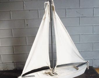 Wooden  Sailboat / White on White / Boat with Cloth Sails and Cotton Rope / Symbol of a special journey.