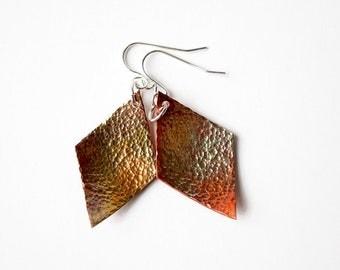 Hammered Copper Geometric Statement Earrings, Colorful Copper Earrings, Rustic Earrings, Mixed Metal Earrings