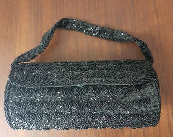 Vintage Elegant Beaded Black Purse / Clutch / Evening Bag