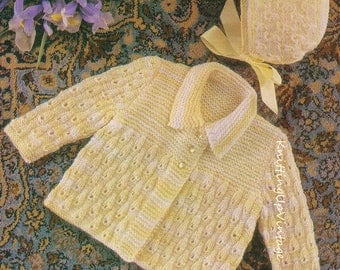 Baby Knitting Pattern  Matinee Coat and Bonnet  pdf