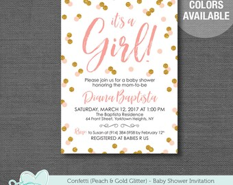 Confetti Peach and Gold Glitter It's A Girl Baby Shower Invitation Printable, Baby Shower Invite, 33C