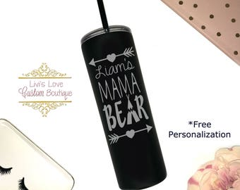 Personalized Mama Bear Tumbler - Dishwasher safe 20 oz Stainless Steel Travel to go cup tumbler water bottle - Mama Bear Mugs - Straw Cups