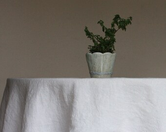 Round Linen Tablecloth   Diameter Up To 114 Inches   Stonewashed    Off White /