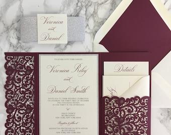 Burgundy invitation Etsy