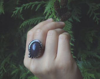 CLEARANCE SALE * Bohemian Sterling Silver Statement Ring, size 7.5 || Taupe Oval Agate Cab, Rustic Bohemian, Vancouver Jewelry