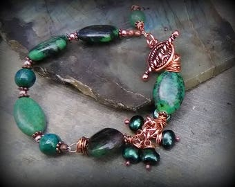 Chrysocolla, Freshwater Pearl and Copper Bracelet