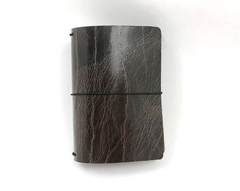 Dark Brown Leather Travelers Cover - Arcadian Collection - Cracked Brown - Black Walnut Notebook - Full Grain - Journal - Water Buffalo