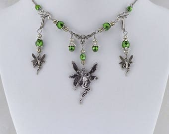 Fae Dreams -  Metallic Green and Antique Silver Fantasy Victorian Necklace, Lavender Fairy Necklace and Earrings Set