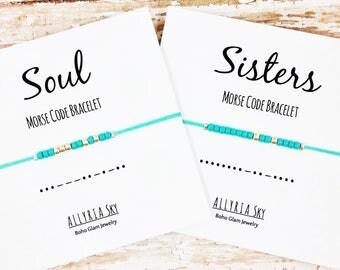 Soul Sisters Morse Code Bracelet Set | Best Friend Bracelets | Big Little Sorority | Morse Code Jewelry | Best Friend Gift | Reveal Day Gift