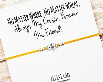 """Cousin Friendship Bracelet with """"Always My Cousin, Forever My Friend"""" Card 