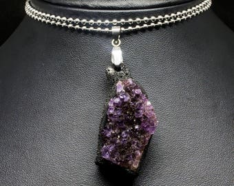 Simple Amethyst Cluster Stainless Steel Clay Pendant/Necklace