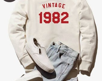 Vintage Sweatshirt 36th birthday gift sweatshirt birthday shirt 1982 sweater ladies sweatshirt women gifts men sweatshirt funy sweater