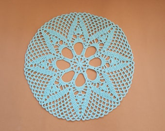Crochet doily #3 Aqua Mint, White Wedding Doily, Black New Hand Crochet Doily, Round Doily, Crochet Lace Doily