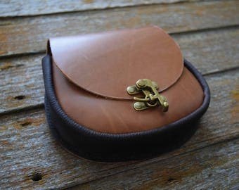 Handmade Heritage Brown Leather Belt Pouch - Renaissance, LARP, SCA
