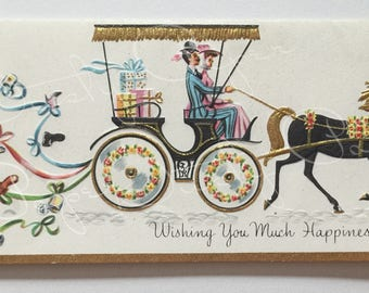 Wedding - Unused Vintage 1950s Embossed Card / Victorian Couple in a Carriage
