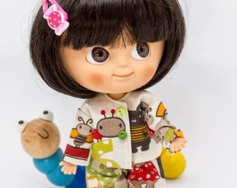 Pajamas for Mui-Chan, Mui-Chan pyjamas, MiniMuiChan pajamas and slippers for Mui-Chan, Mui-Chan sleepwear, Mui-Chan clothes