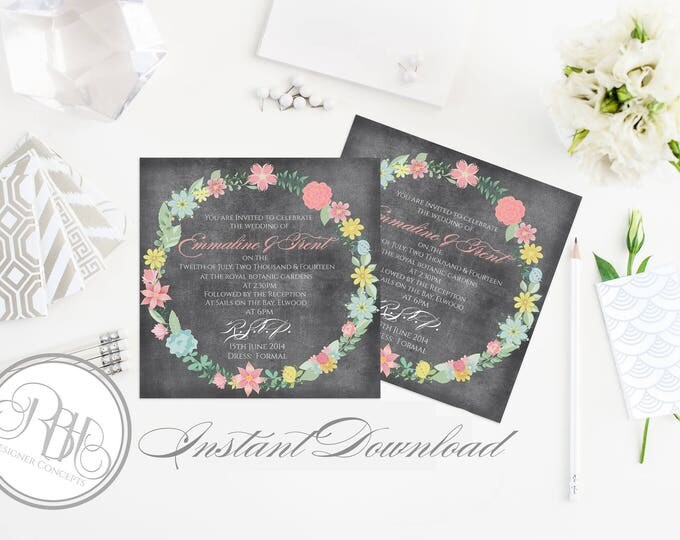 """Rustic Chalkboard Wedding Invitation Template-INSTANT DOWNLOAD PDF Editable Text Only-Chalkboard Rustic Vintage Floral Wreath- """"Emily"""""""