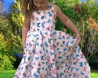 Butterfly print, Girls maxi dress, Girls long dress, Girls soft pink circle dress, Long pink dress, Cotton print dress, Young girl dresses