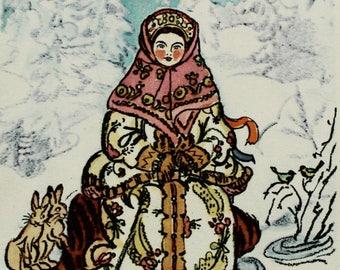 Morozko - Russian folk tale - Illustrator T. Mavrina - Vintage Soviet Postcard, 1965. Jack Frost Girl Hares Birds Winter Fairy tale Print