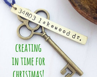 First Home Ornament - Custom Stamped New House Address Skeleton Key - Personalized Housewarming Gift - Wedding Tag - Vintage OG Rustic Brass