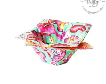 Pair of Microwave Bowl Cozies - Tula Pink Chipper Fabric Cozies - Microwaveable Cozy Bowl - House Warming Gift - Microwave Potholder
