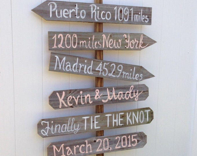 Rustic Wood Directional Destination Signs, Garden Decor, Housewarming Unique Gift Sign, Personalized Wedding gift idea