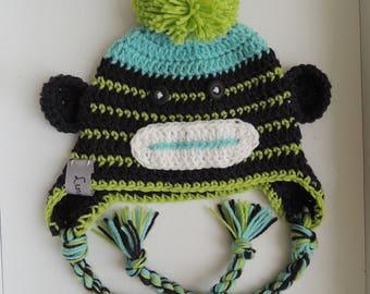 Sock Monkey Hat, Crochet Hats, Boy Sock Monkey Hats, Sock Monkey Beanies, LuvBeanies, Monkey hats, Animal Hats, Photo Props, baby