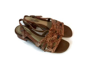 SALE Vintage Brown Leather Sandals 1980s woven shoes slingback sandals strappy BOHO HIPPIE sandals womens size 7.5