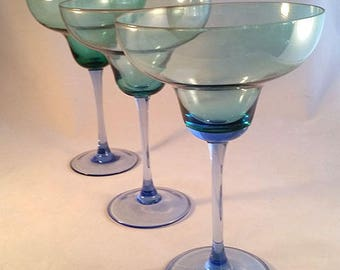 Set of  Large Green and Blue Margarita Glasses