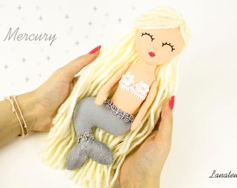 Felt mermaid doll, Mercury, OOAK doll, mermaid plush, wool blonde hair, silver tail, birthday special gift, precious handmade doll girl gift