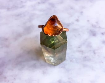 Citrine and Copper Ring Size 6 3/4