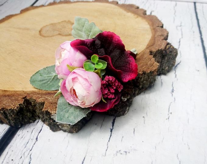 Wedding boutonniere realistic silk flowers dusty miller flocked leafs greenery pink burgundy marsala wine ranunculus hydrangea