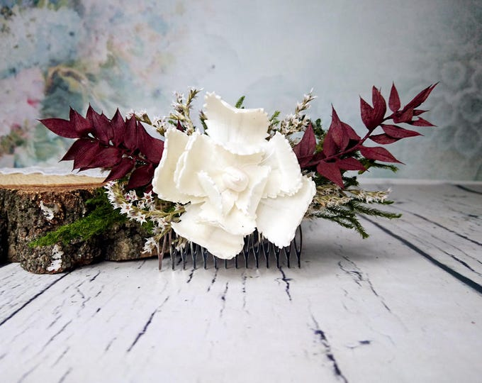 Burgundy rustic woodland HAIR COMB Sola Flower magnolia preserved green cypress maroon dried flowers burlap hair piece bridal accessory