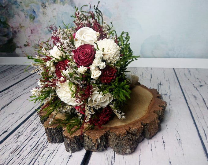 Medium rustic woodland wedding BOUQUET burgundy deep red wine sola dried preserved flower greenery cypress cedar rose Burlap Lace natural