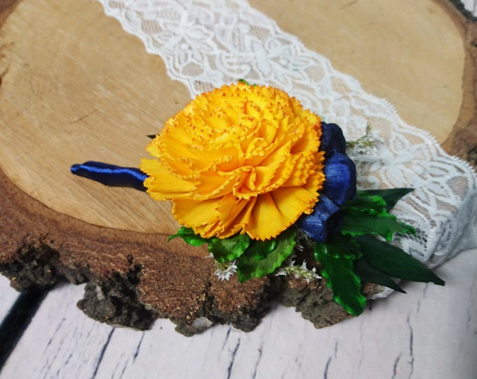 Groom's boutonniere Sunny yellow navy sola flowers preserved vibrant green greenery wedding Rustic satin ribbon Wedding Flowers carnation