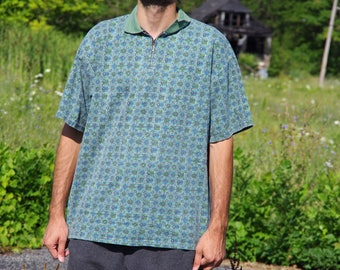 90's BUGLE BOY scribble pattern green zip up collar polo shirt size extra large
