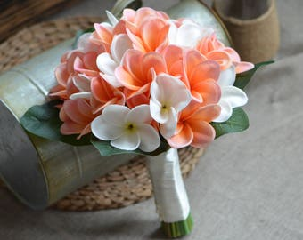 Real Touch Tropical Plumerias Bouquet Coral Ivory Plumerias Frangipanis Wedding Bouquets