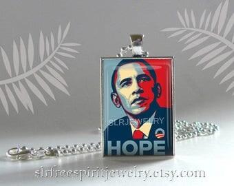 Retro Obama Poster Necklace, Obama Hope Necklace, Barack Obama Necklace, Democratic President, Resistance Movement, Anti-Trump