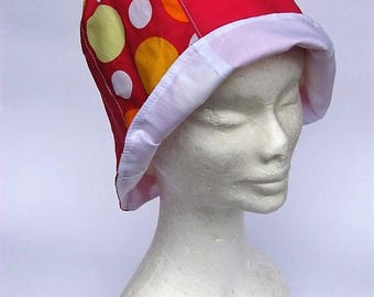 womens summer cloche, sun protection hat, colorful pink dots, holiday, vacation, beach, gardening