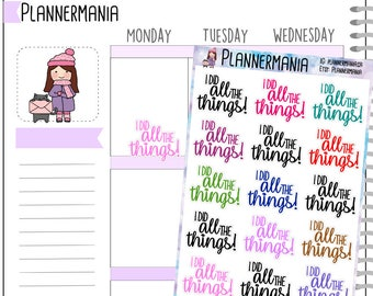 Script Stickers, Hand Written Stickers, I Did All the Things Planner Stickers 924