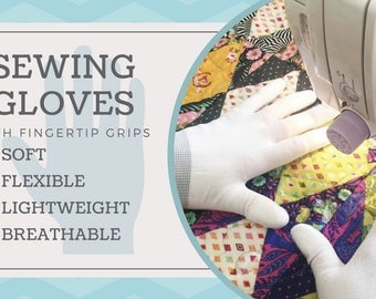 White Machine Quilting Gloves with Fingertip Grips