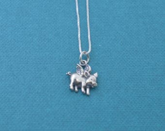 Little girl's flying pig necklace in sterling silver.  Little girls jewelry.  Pig necklace.  Pig jewelry.  Pig Charm. Flying Pig.