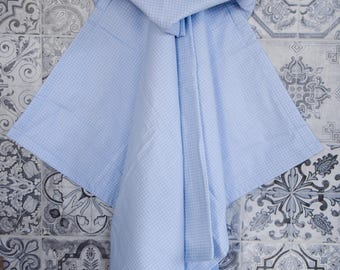 Hooded Baby Towel, Blue Gingham towel, Hooded Bath Towel, Toddler towel, Hooded Beach towel, Blue baby towel, Terry towel,