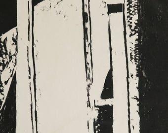 "Sylvia Pollock Woodcut Print ""Doorway 2"" Vintage Art Mid Century Modern MCM MOD Black & White Woodblock AP"