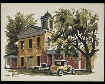 Mark Coomer Serigraph Colonial Architecture House Print Vintage Art Silkscreen Screenprint Silkscreen