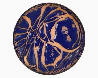 Miniature Enamel Copper Plate Mid Century Modern MCM MOD Decor Art Abstract Design Organic Dish