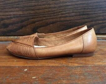 Vintage 1970s SUMI Brazilian Woven Leather Slingbacks SHOES Sandals Size 8 Boho Mod Hippie