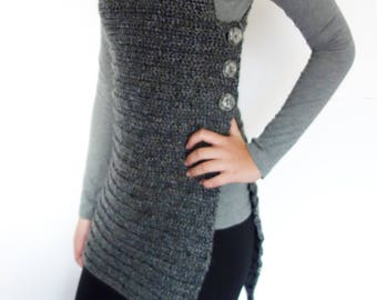 Tunic Crochet PATTERN-  Side Buttoned Vest/Ribbed Shrug/ Rustic Shoulders Coverup/ Sleeveless Long Sweater
