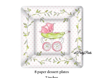 pink baby carriage dessert plates, girls baby shower decorations, stroller, designer party supplies, its a girl, gender reveal, green vines