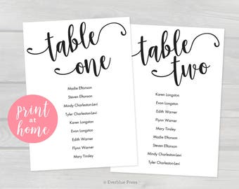 Printable Wedding Seating Chart Cards Template PDF, 5x7, Tables 1-20, Instant Download, Editable Hanging Seating Cards Table assignments